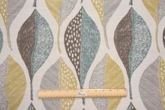Fabric by the Yard :: Robert Allen Woodblock Leaf Printed Cotton Drapery Fabric in Rain $14.95 per yard - Fabric Guru.com: Fabric, Discount ...