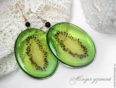 Купить Киви. Прозрачные серьги - зеленый, прозрачные украшения, прозрачные серьги, подарок девушке