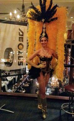 Gold Glittering Real Las Vegas Showgirl  Premier Showgirls of Las Vegas