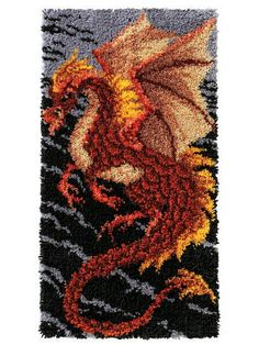Fierce Dragon Latch Hook Rug