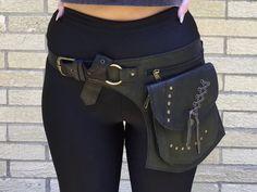 Pochette ceinture en cuir noir, Fanny pack, ceinture d'utilité, ceinture de poche, sac banane, Festival de porter, ceinture, pochette voyage, Gypsy, Hippie, Boho