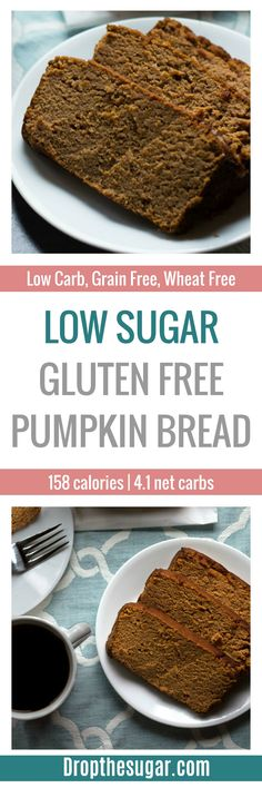 Low Sugar Gluten Free Pumpkin Bread | a very moist low carb pumpkin bread recipe that is also grain free. A great low carb snack idea for work, or even a low carb breakfast idea! Pin now to make later!