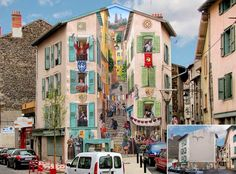 French artist Patrick Commecy and his team of muralists transform dull and boring facades around France into vibrant scenes full of life. His hyperrealistic painted-on windows, balconies and tiles closely resemble their real-life counterparts. Hanging in the balconies and outdoor space,