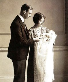 The Queen Mother (then the Duchess of York) with her husband King George VI (then Duke of York) at the christening of their first child Elizabeth, later Queen Elizabeth II - UK - 1 May 1926