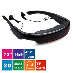 Excelvan 2015 HOT 72 Inch Virtual Digital Portable Video Glasses Personal Theater Widescreen with Stereo Sound for TV BOX/ PSP--Visual Feast for Show Video(Black) Tv Box, Tv Tuner, Videos, 3d Glasses, Show Video, Audio, Psp, Virtual Reality, Oakley Sunglasses