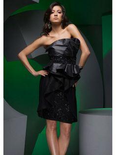 Taffeta Strapless Skirt Asymmetrically Beaded Bodice Cocktail Dress