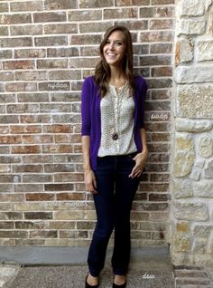 Greater Than Rubies. The blouse with bright purple cardigan. Purple Day, Bright Purple, Purple Cardigan Outfits, Teacher Outfits, Comfy Casual, Everyday Fashion, Dress To Impress, Sweater Cardigan, Style Inspiration