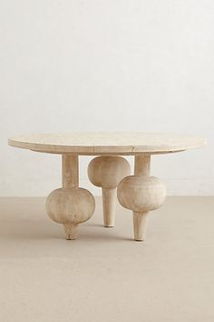 Kalasha Dining Table With its strong, sculptural presence, this handcarved table is finished in a gray wash wax that enhances the wood's natural knot and grain. Even better, its urn-shaped legs create a substantial feel without taking up extra room. Design Furniture, Unique Furniture, Luxury Furniture, Rustic Furniture, Futuristic Furniture, Furniture Legs, Plywood Furniture, Furniture Stores, Cheap Furniture