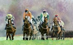 approaching the next, cilwendeg, point to point horse racing art print by lisa…