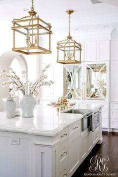 brass lanterns white and bright Transitional Kitchen Nook Remodel - Styled for Spring