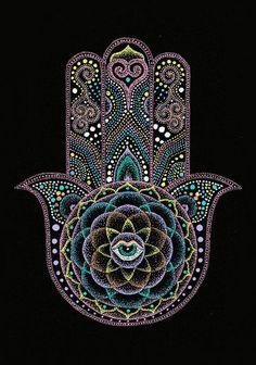 Dot Hamsa Hand Mandala Art Print by Nobuaki Suzuki. All prints are professionally printed, packaged, and shipped within 3 - 4 business days. Choose from multiple sizes and hundreds of frame and mat options. Mandala Art, Mandala Nature, Image Mandala, Mandalas Drawing, Hamsa Painting, Dot Art Painting, Mandala Painting, Hamsa Tattoo, Mandala Tattoo
