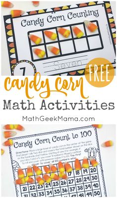 Looking for a fun way to put all your candy corn to good use? This free set of candy corn math printables use candy corn as a fun math manipulative. There are counting mats, an addition game, plus counting to 100 and measurement. Kids will love it! Math Board Games, Math Games, Hands On Activities, Math Activities, Therapy Activities, Math Resources, Halloween Math, Halloween Activities, Holiday Activities