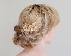 Gold Hair Comb Gold or Silver Hair Vine Gold headpiece Gold