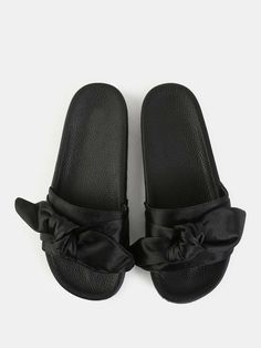 Online shopping for Bow Tie Satin Slide Sandals BLACK from a great selection of women's fashion clothing & more at MakeMeChic.COM.