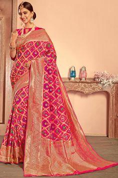 Attractive Banarasi Tissue silk saree Fall-Pico /& Saree Tassels are free Grey and Red Combination