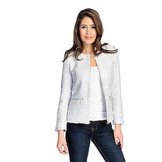 727-191 - Bows & Sequins Woven Tweed Long Sleeved Metallic Detailed Two-Pocket Jacket
