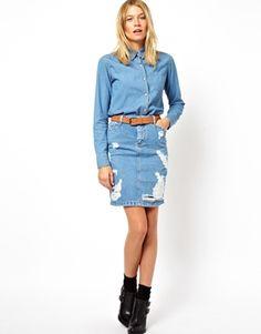 ASOS+Denim+Skirt+in+Ripped+Vintage+Wash