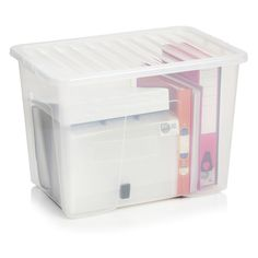 wilko storage box with lid clear 80l