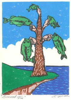 """Basswood Tree""  WoodBlock Print  5"" x 7""  Graphic Heavyweight Paper  5 Cherry Woodblocks"