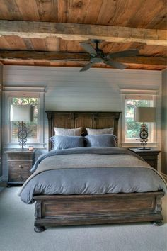 Idyllic lake house in Minnesota provides a welcoming respite - Farmhouse Bedroom Design Ideas - Bedroom Decor Bedroom Sets, Home Decor Bedroom, Master Bedroom Furniture Ideas, Master Bedroom Set, Bedroom Girls, Gray Bedroom, Home Design, Design Ideas, Design Concepts