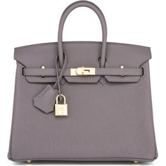 Pre-Owned Hermes Etain Tin Grey Baby Birkin 25cm Bag Togo Gold... (€19.425) ❤ liked on Polyvore featuring bags, handbags, etain, gray leather purse, leather satchel handbags, grey handbags, grey leather purse and grey purse