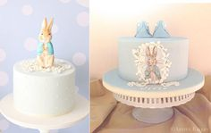 Peter Rabbit cakes Beatrix Potter cakes by Hello Naomi left and the Artful Bakery right