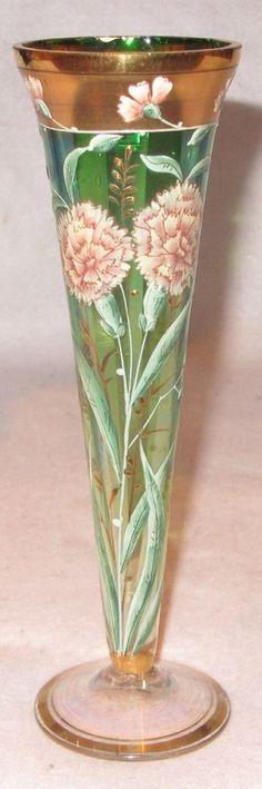 Unusual 19th c. Iridescent Green Glass & Hand Enameled Bud Vase w/ Gilt - MOSER