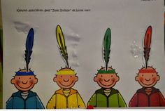 Peuters thema indianen: kleuren associatie : geef Jules de juiste veer op z'n indianentooi  Preschool theme indians / native americans: color matching with feathers and class icon  Bron: www.jufanneleen.com