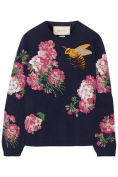 GUCCI Embroidered Intarsia Wool Sweater. #gucci #cloth #knitwear