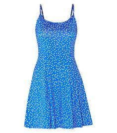 Blue Strappy Heart Print Skater Dress