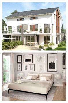 #Doppelhaus mit Wintergarten-#Erker und Balkon. Als Doppelhaus konzipiert ist dieser Entwurf das ideale Haus für alle, die gute Nachbarschaft ebenso  zu schätzen wissen. Das funktionale und clevere #Grundrisskonzept ermöglicht euch dabei die optimale Ausnutzung von begrenzten Grundstücksflächen. Als Typ XL entsteht mit drei #Geschossen ein klassisches Doppelhaus mit attraktiver Architektur und komfortablem Wohnen für alle, die noch etwas mehr Platz benötigen. #livinghaus #grundriss Style At Home, Living Haus, Garage Doors, Mansions, House Styles, Outdoor Decor, Home Decor, Mockup, Winter Garden