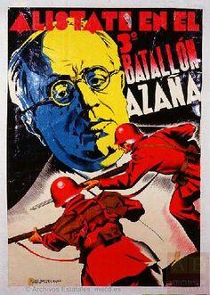 Autor:Aragó (1907-2003) Titulo:Alístate en el 3.º Batallón Azaña Imprenta:Litografía Félix Martínez, Control CNT-UGT. Valencia Fechas:1936-1938 [APR]