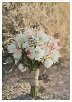 astilbe, scabiosa, spray roses, feverfew, bridal blush, and sweet peas bouquet  ::  Photography: Fondly Forever /  Flowers: Karen Amit Floral Design, via 100 layer cake