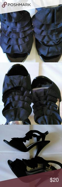 Kelly & Katie Heels Size 7 Very Black Heels.   Front is cascade of black scallops.   Excellent condition.   No scuff or marks anywhere on shoes. Kelly & Katie Shoes Heels