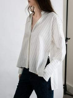 f31c9b2d DION LEE   Quarter Frayed Shirt   White Stripes   The UNDONE by Dion Lee Lee