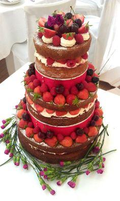 Rustic un-iced wedding cake