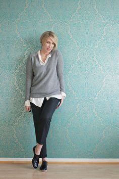 A fashion blog for women over 40 and mature women http://www.glamupyourlifestyle.com/  Sweater + Pants: Zara Blouse: Dorothee Schumacher Shoes: AGL