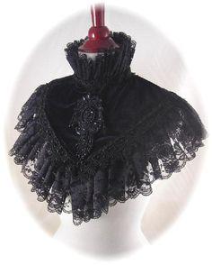 Black High Collar Victorian Shawl