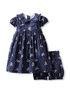 Rachel Riley Baby Bow Print Dress & Matching Bloomers (Light Navy & Ivory)