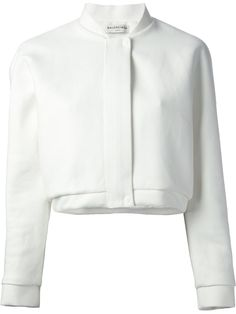 Balenciaga Cropped Bomber Jacket in White