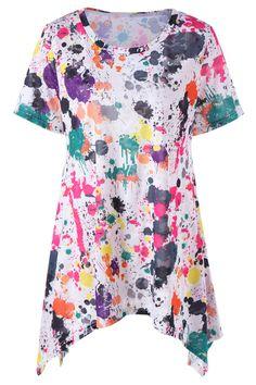 $18.46 Plus Size Splatter Paint Longline T-Shirt - White
