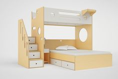 Image result for Marino+Loft+Bed+with+Stairs+-+Natural