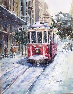 mkaans uploaded this image to 'Omer MUZ-Galeri'. See the album on Photobucket. Winter Christmas Scenes, Winter Scenes, Christmas Art, Landscape Drawings, Landscape Paintings, Travel Illustration, Snowy Day, Snow Scenes, Winter Landscape