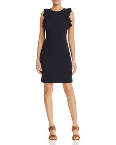0ada5fae343c T Tahari Tania Ruffle-Trimmed Sheath Dress Women - Bloomingdale s