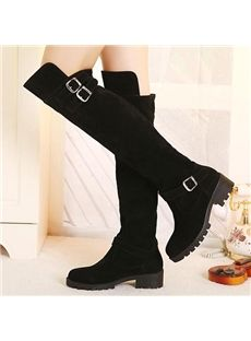 Concise Strap Buckles Decoration Over Knee High Boots