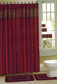 18 PC BURGUNDY CIRCLES BATHROOM BATH MATS SET RUG CARPET SHOWER CURTAIN 3 TOWELS