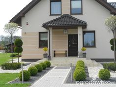 Dom i ogród Front Walkway Landscaping, Stone Landscaping, Small Backyard Landscaping, Rock Garden Design, Garden Design Plans, Landscape Plans, House Entrance, Patio, House Front