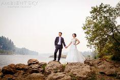 Portland Wedding Photography.  Stunning riverside portrait   Ambient Sky » Oregon's finest wedding videographers and photographers