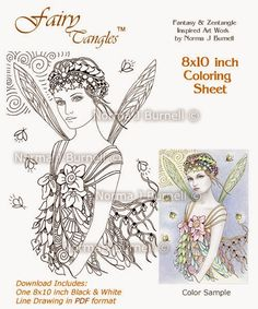 Fairy Tangles Few New Digi Stamps And Coloring Sheets