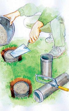 Wasserrohre aus PVC dienen als Schalung für die Betonfundamente. Sie bleiben nach Fertigstellung der Fundamente im Boden